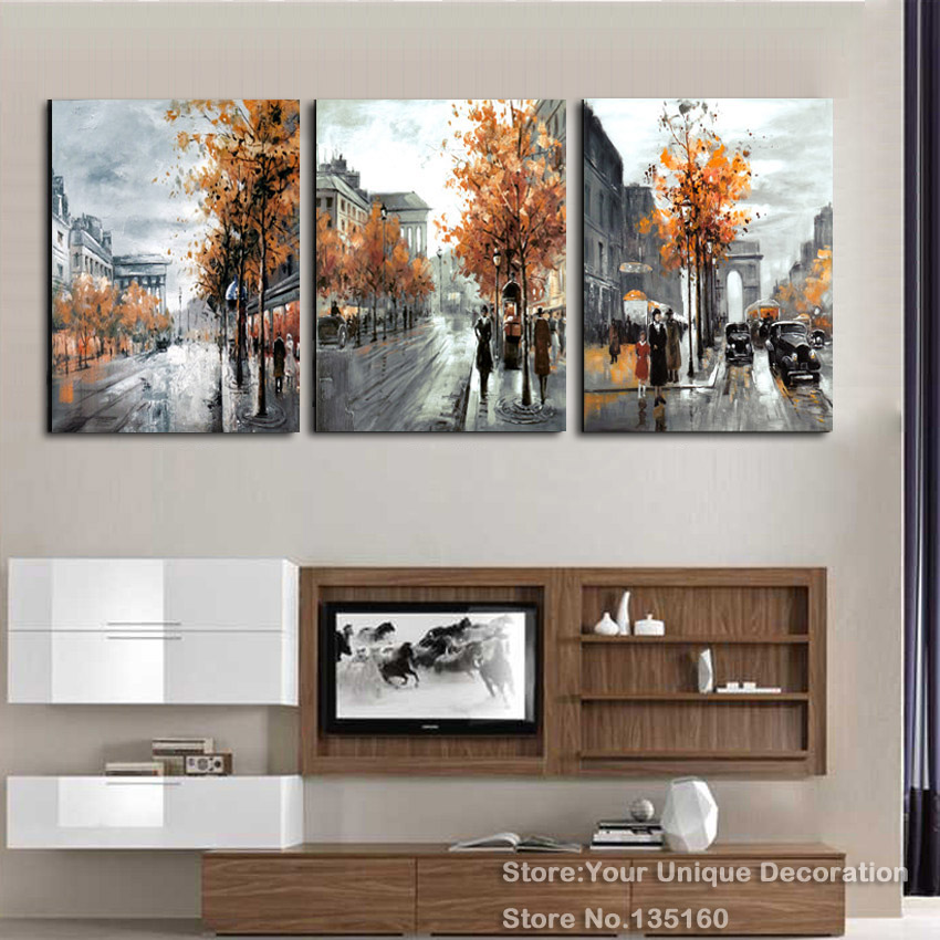 3 Piece Painting Calligraphy Vintage Abstract City Street