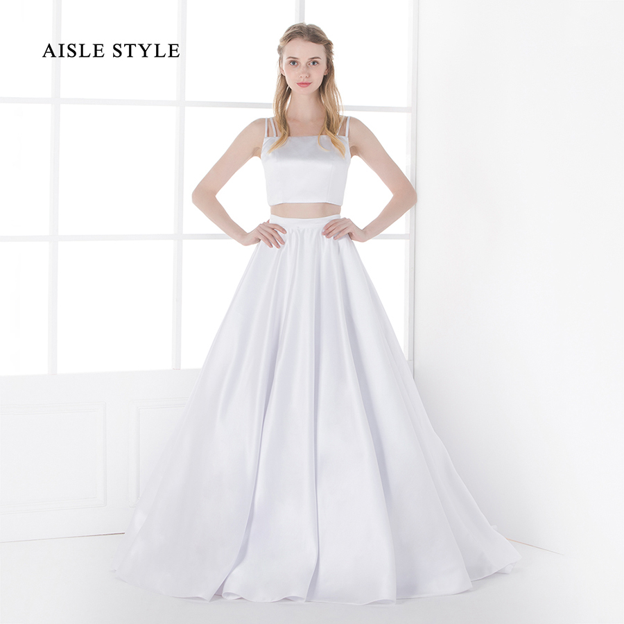 ef2db6438f6d2a Modern 2 Piece Wedding Dresses Long A-line Satin Crop Top Simple Wedding  Gown with Spaghetti Straps Aisle Style