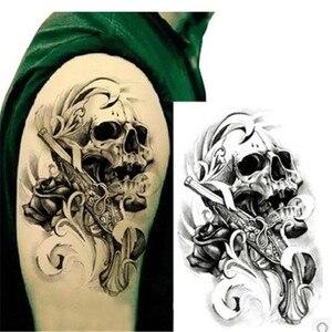 1PC Waterproof Temporary Tattoos Sexy Black Death Skull Shoulder 3D Tattoo Men Henna Fake Tattoo Sleeve Arm Sticker For Body Art