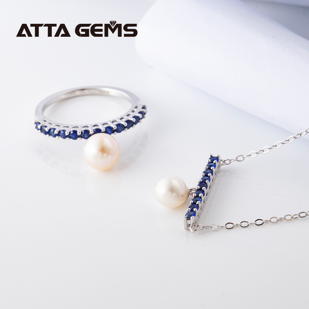 Women Fine Jewelry Set Blue Saphire Silver for Birthday Party Created Blue Sapphire Natural Pearl Elegant Design S925 Jewelry