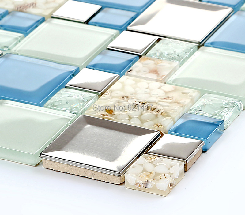 blue crystal glass electroplate shell mosaic tiles ...