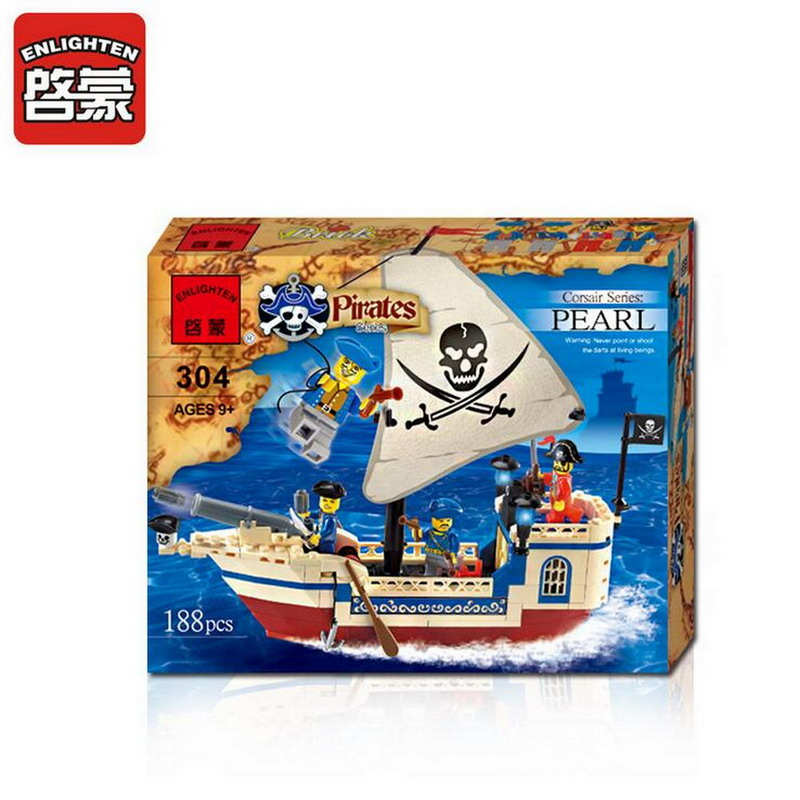 Enlighten Pirate Boat Series Pirates Of The Caribbean Ship Building Blocks Educational Figure Toys For Children Compatible Legoe 1700 sluban city police speed ship patrol boat model building blocks enlighten action figure toys for children compatible legoe