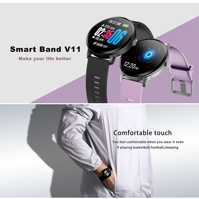 SENBONO V11 Smart watch IP67 waterproof Tempered glass Activity Fitness tracker Heart rate monitor BRIM Men Women Smart band