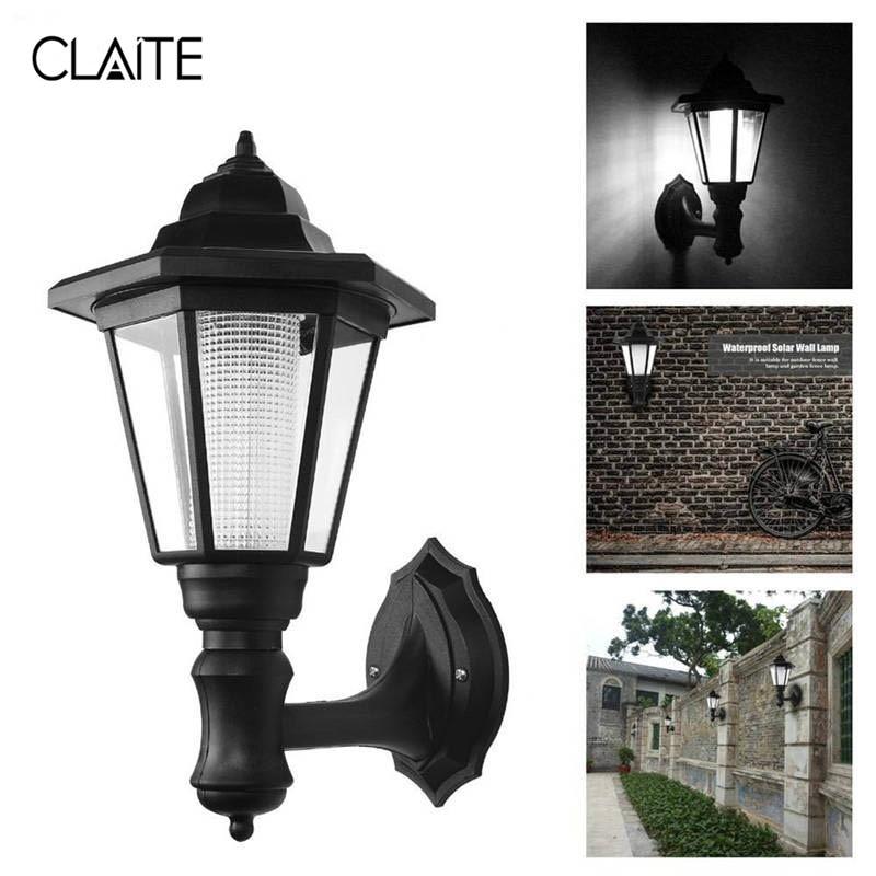CLAITE Solar Powered Wall Lantern Light Outdoor Garden