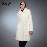 S 5XL Plus Size Women White Long Fur Coat Faux Mink Fur Coats and Jackets Fashion Stripe Rabbit Fur Winter Overcoat With Belt