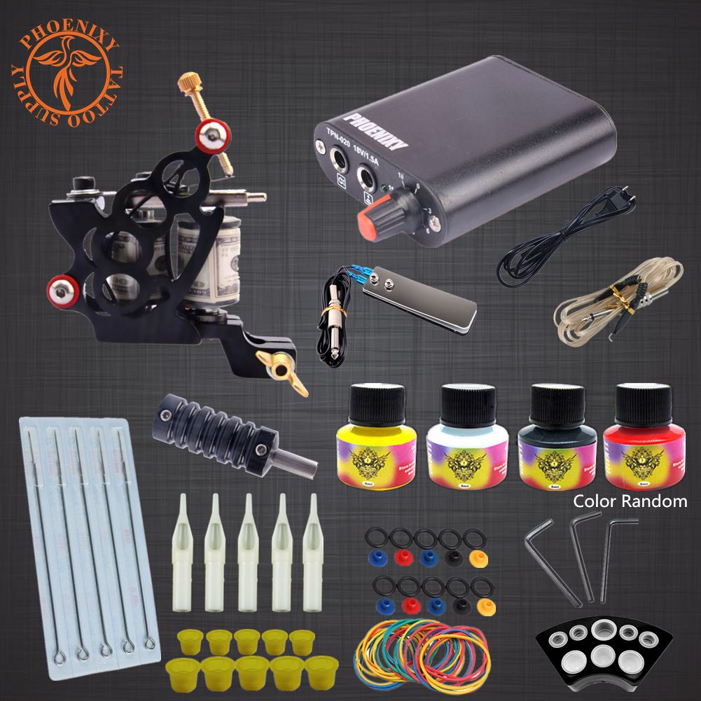Professional Tattoo Kit 2 Tattoo Machines 4 Colors Ink Set Power Supply Box Beginner Body Art Supplies Needles Tips Kit professional tattoo kits liner and shader machines immortal ink needles sets power supply