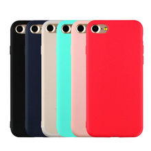 92ebe82a3cf Macarons Color caramelo TPU silicona mate funda para iPhone 7 6 6 S Plus 5  5S funda trasera suave para iPhone 6 Plus 7 Plus fund.