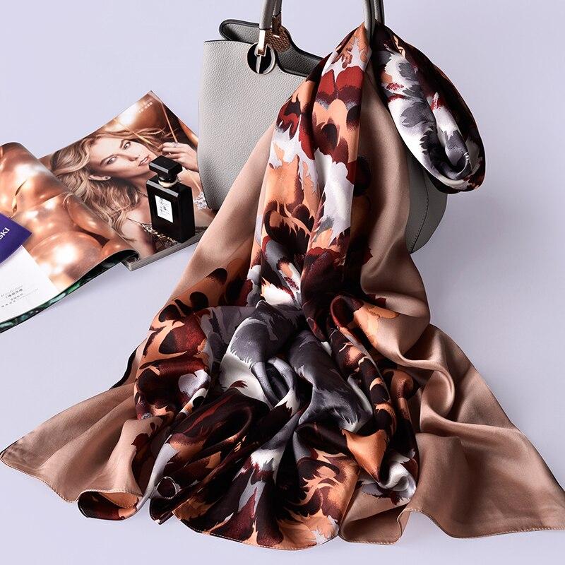 100% reiner Seide Schal Damen Luxus Marke 2019 Hangzhou Seide Schals und Wraps für Frauen Natürliche Echte Seide Schals Foulard femme