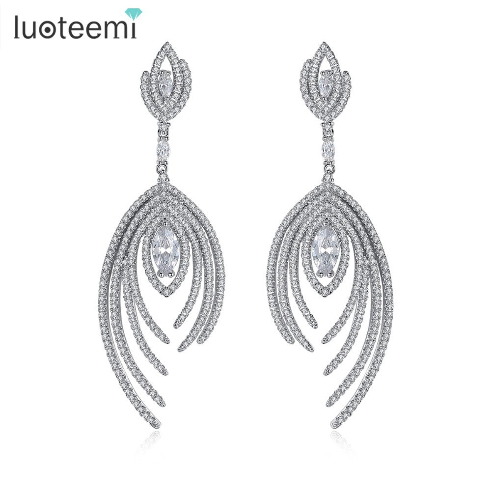 LUOTEEMI New Christmas Gifts Handmade Big Dangle Brincos Luxury Full Shiny CZ Crystal Drop Earrings for
