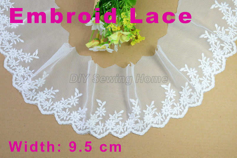 9.5 cm bordado del algodón guarnición de costura del guipure de la ...