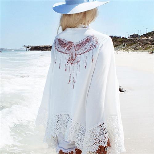 2016 Blusa de Verão Maiô Encobrimentos Pareo Praia Túnica Chiffon Kimono Moda Floral Robe Kaftan Impresso Havaiano Sexy Robe