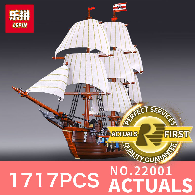 LEPIN 22001 1717Pcs The movies series Pirate Ship warships Model Building Block Briks Educational Toys Model Compatible 10210 lepin 22001 pirates series the imperial war ship model building kits blocks bricks toys gifts for kids 1717pcs compatible 10210