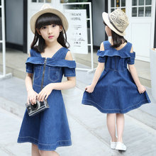 цена на Girls Denim Dress 2020 New Fashion Off-Shoulder Fly Sleeve Girls Princess Dress Toddler Girl Party Dress Girls Jeans Dress 5-12Y