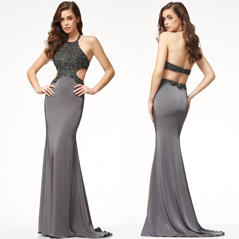Buy Elegant Formal Dress Women Evening Party Dress Sexy Halter Backless Slim Vestidos Patchwork Night Dresses Sleeveless Club Female