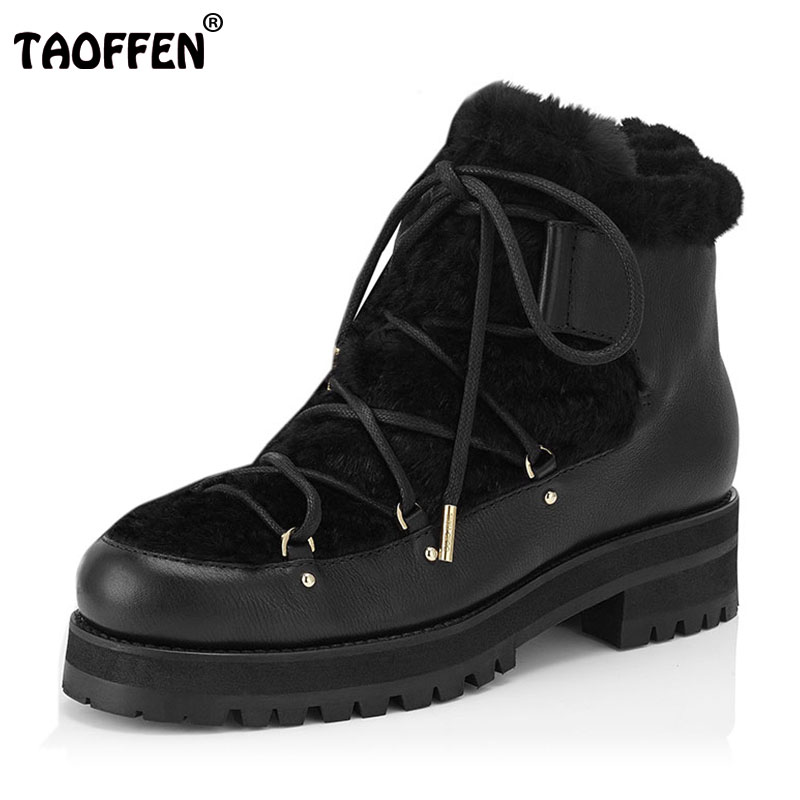 TAOFFEN Winter Genuine Real Leather Boots Women Plush Ankle Snow Boots Feminina  Platforms Fashion Lace Up Women Shoe Size 33-43 taoffen new winter genuine real leather boots women flats plush ankle snow boots feminina casual lace up women shoes size 34 39