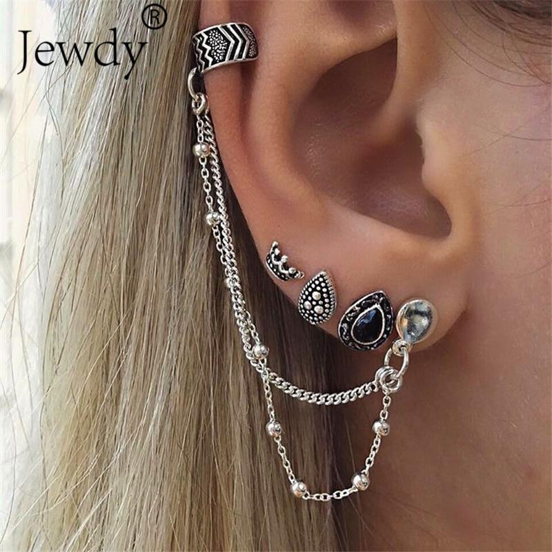 Crystal Earring-Set Silver Punk-Accessories Crown Vintage Women New-Fashion Boho