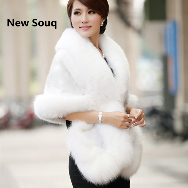 Black White Burgundy Winter Casual Occasion Wrap Bridal Wrap Wedding Jackets Cloak Warm Prom Winter Wedding Coat Faux Fur