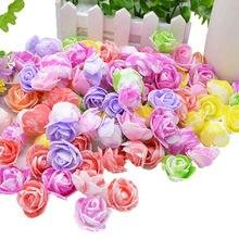 100 pces 3cm dupla cor artificial pe espuma rosas cabeça diy festa de casamento decorativo scrapbooking flores