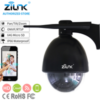 ZILNK New 1080P Full HD PTZ Speed Dome IP Camera 5x Zoom Outdoor Waterproof CCTV WiFi TF Card Motion Detection ONVIF H.264 Black