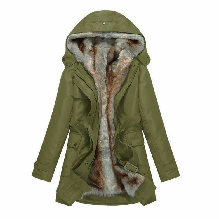 OLGITUM Women Basic Jackets Winter Coats Faux Fur Woman Warm Parka Hood Coat Plus Size Oversize
