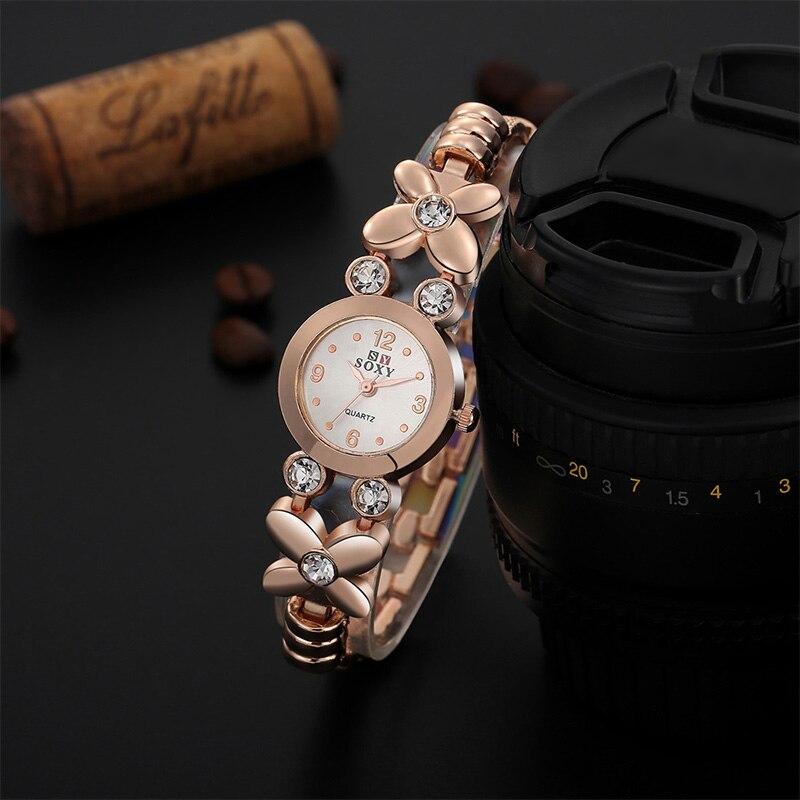 все цены на SOXY Brand Watch Women New Fashion Rose Gold Quartz Watch Luxury Rhinestone Bracelet Watches Hour Clock relojes relogio feminino