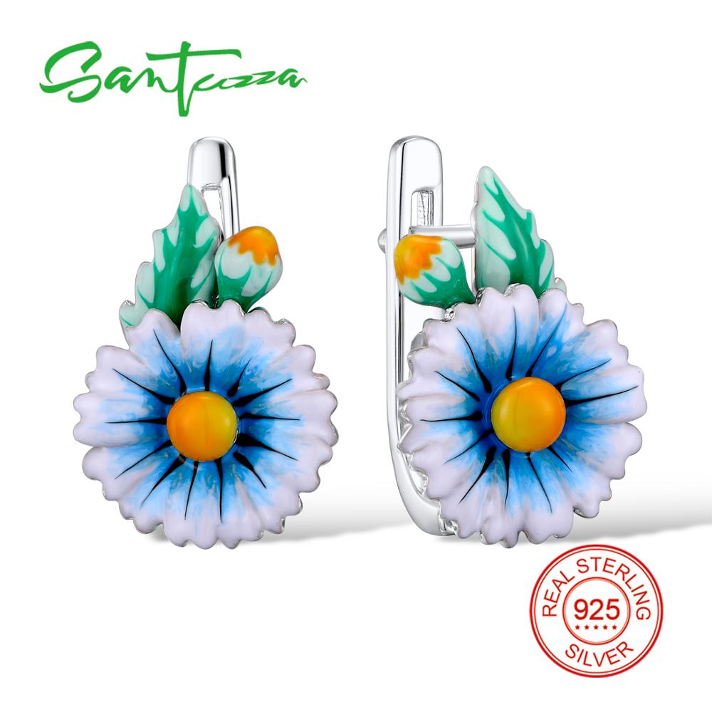 SANTUZZA Silver Flower Earrings For Women 925 Sterling Silver Stud Earrings Silver 925 Cubic Zirconia brincos