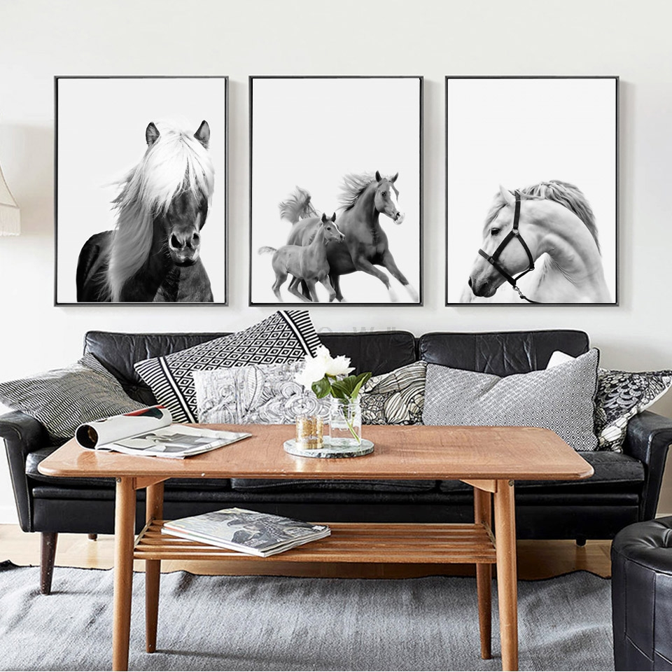 No frame 3 pieces black white horse poster scandinavian canvas no frame 3 pieces black white horse poster scandinavian canvas painting for living room wall picture print nordic art home decor in painting calligraphy jeuxipadfo Gallery