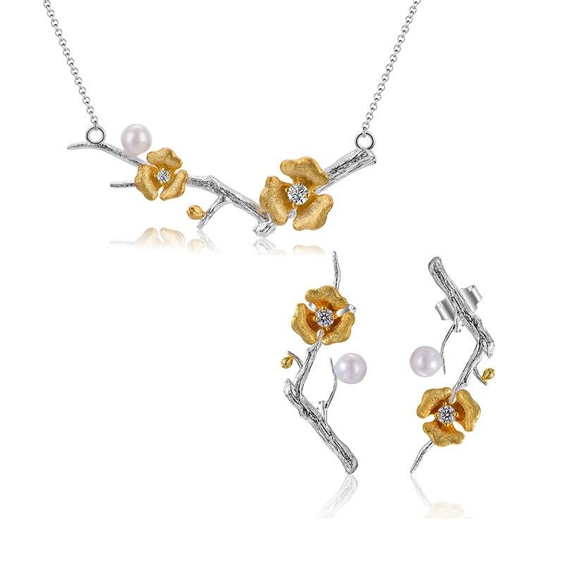 Lotus Fun Real 925 Plata de Ley diseñador hecho a mano joyería fina delicado flor de ciruelo conjunto de joyas para mujeres-in Conjuntos de joyería from Joyería y accesorios    2