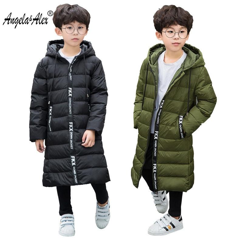 Angela&Alex Winter Down Jacket Kids Boys Hooded White Duck Down Coat Letter Printing Long Warm Coat Boys Children Outwear 2017