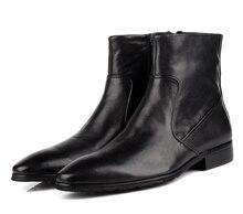 TOP QUALITY moda preto botas de tornozelo dos homens botas de couro genuíno sapatos de inverno da motocicleta dos homens