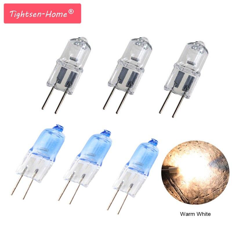 10 PCS Alogena G4 AC12V 5 W 10 W 20 W 35 W 50 W Lampada G4 Alogena Luce Calda lampadina G4 Base Trasparente/blu Alogena inserito lampada di cristallo