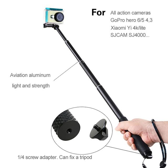 Action Camera 43″ diving Extendable Aluminium Go Pro selfie Stick Monopod For GoPro HERO 7 6/5 4,3+ SJCAM For Xiaomi Yi 4k