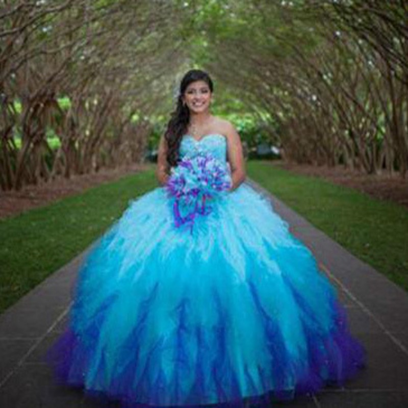 Fashion Ombre Quinceanera Dresses 2017 Bead Sequin Sweetheart ...