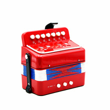 New D'Luca Child Button Toy Accordion red 7 Keys + 3 Buttons  Children Kids Button Toy Accordion