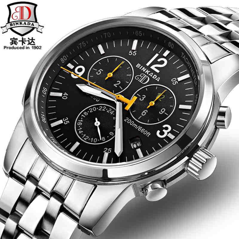 Original BINKADA Men Automatic Watches Men Luxury Brand Full Steel Waterproof 30m Business Mechanical Wristwatches For Male все цены