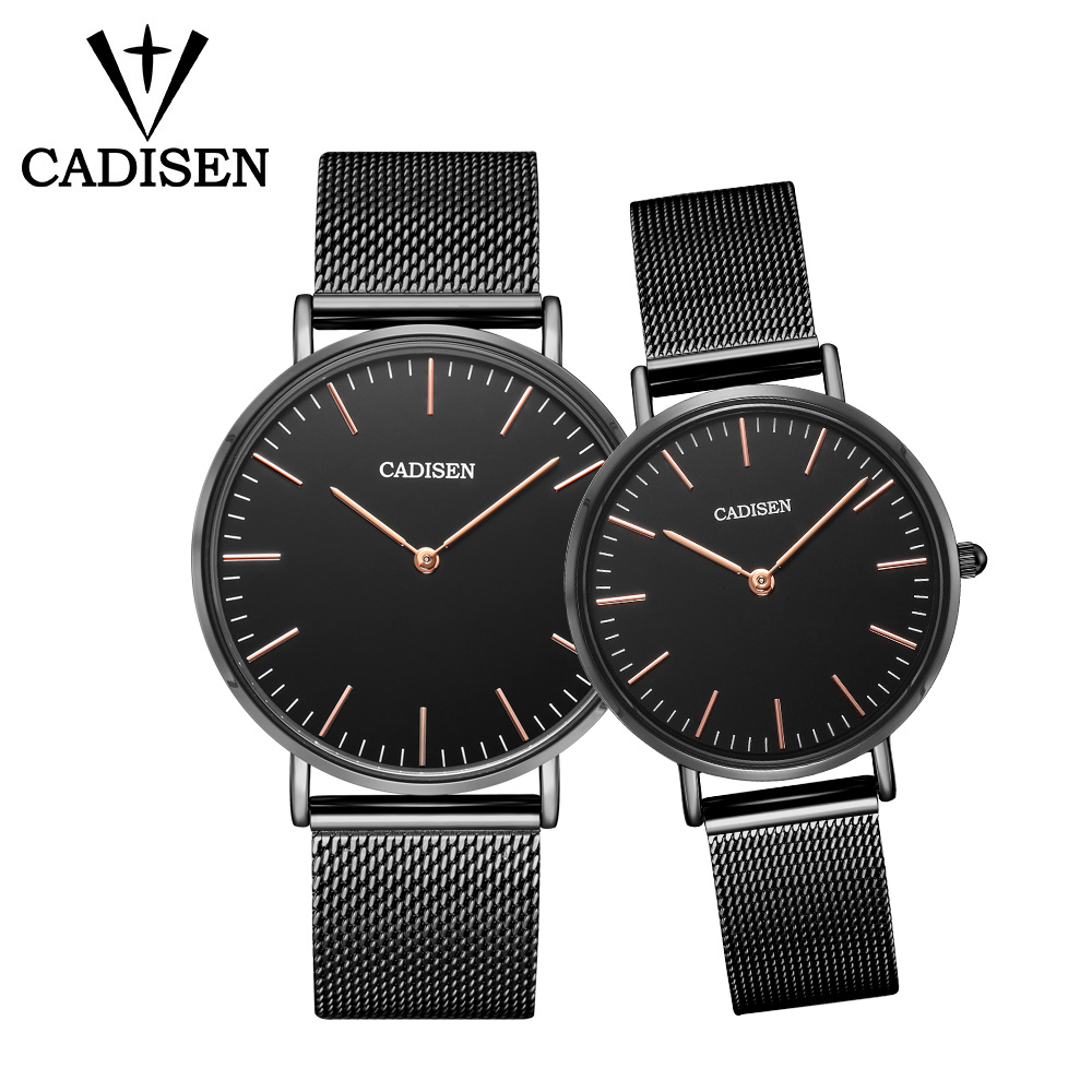 CADISEN Fashion Simple Set Couple Watches Men Watch Steel Mesh Belt Quartz Wristwatch Ultra-thin Clock Women Lovers Gift relogioCADISEN Fashion Simple Set Couple Watches Men Watch Steel Mesh Belt Quartz Wristwatch Ultra-thin Clock Women Lovers Gift relogio