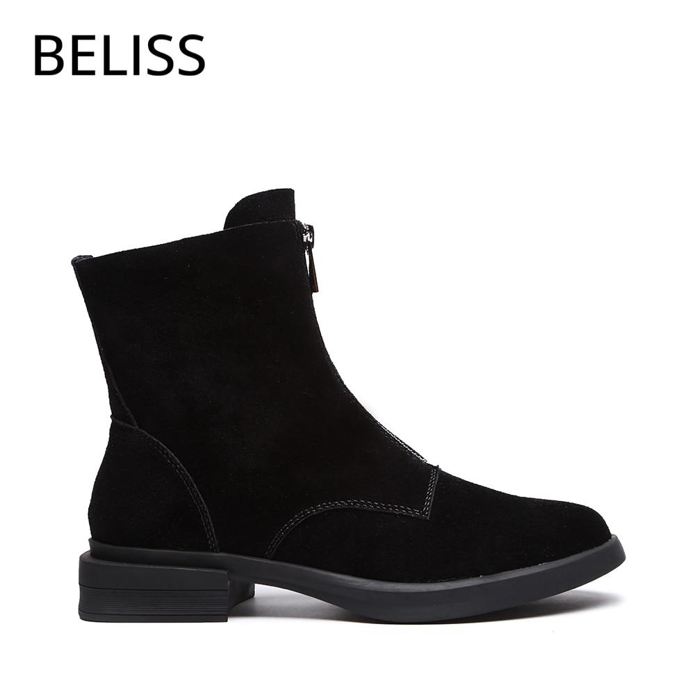Chaussures Qualité Femmes Dames Chelsea Nubuck Beliss Black Pour Bottines Supérieure Éclair Automne Cheville Fermeture Courtes Bout Bottes Tendance B64 Cuir Rond brown Y7fIg6vbym