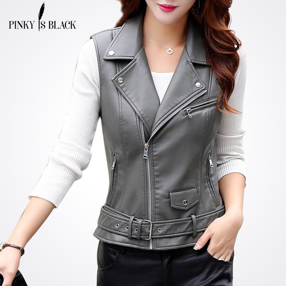 PinkyIsBlack Women PU   Leather   Vest Ladies Tactical   Leather   Motorcycle Vest Pocket Vest Waistcoat Female Sleeveless Waistcoat