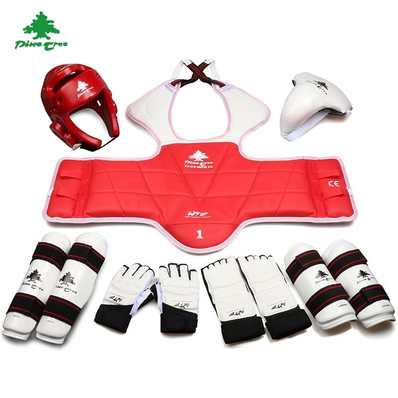 ФОТО 8 Pcs Adult Children Thickening Taekwondo Protector Taekwondon Helmet Hand Foot Gloves Chest Shin Arm Groin Guard Head protector