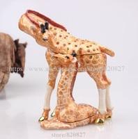 Giraffe Mom and Baby Jewelled Trinket Box Jewelry Box with Crystal Pill Box Giraffe Figurine Metal Giraffe Jewelry Trinket