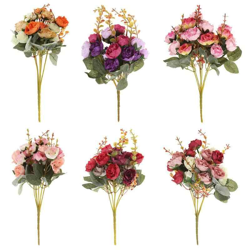 New 21 Heads/Bouquet Silk Rose European Style Artificial Flower Bouquet Fake Flowers Wedding Home Party Decoration High Quality