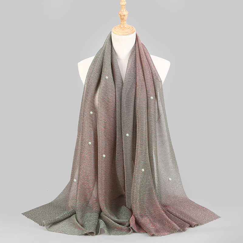 NEW Shimmer Veils Hijab Scarf Shiny Pearls Beaded Crinkle Shawl Fashion Muslim Hijabs Women Maxi Scarves Shawls Islamic Scarf