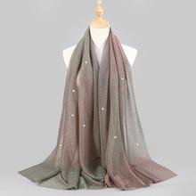 NEW Shimmer Veils hijab Scarf Shiny Pearls Beaded Crinkle Shawl Fashion Muslim hijabs Women maxi Scarves Shawls Islamic Scarf