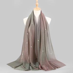Image 1 - NEW Shimmer Veils hijab Scarf Shiny Pearls Beaded Crinkle Shawl Fashion Muslim hijabs Women maxi Scarves Shawls Islamic Scarf