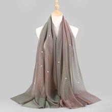 新シマーベールヒジャーブスカーフ光沢のある真珠ビーズクリンクルショールファッションイスラム教徒 hijabs 女性マキシスカーフ、イスラムスカーフ