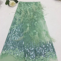 African 3D Lace Fabric High Quality feather Lace Fabric Beautiful Applique Nigerian Lace Fabric For Wedding Dress A297 2