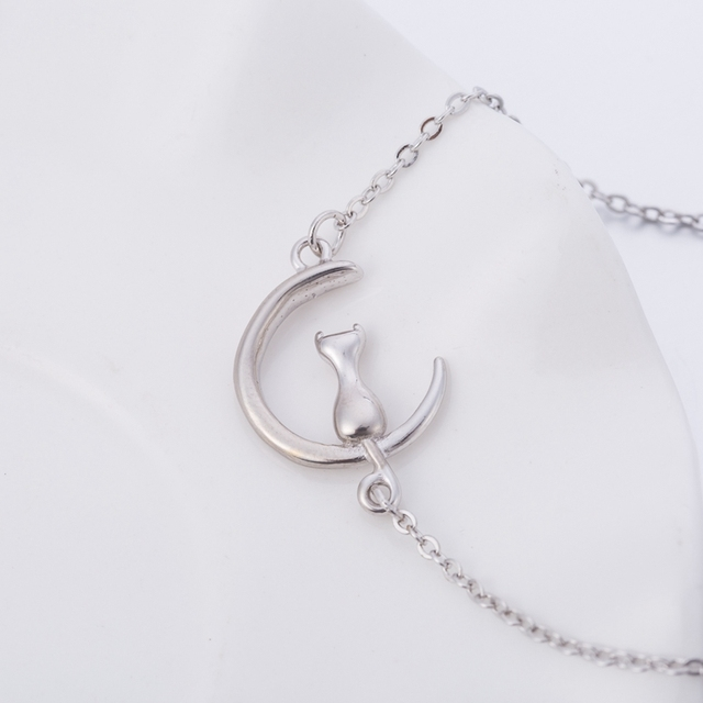 Silver Bracelet with Cat on the Moon