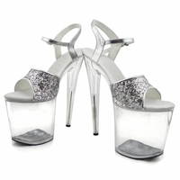 Gorgeous gold/silver glitter high heels 8 inch white flowers wedding shoes clear platform Crystal shoes 20cm party dress sandals