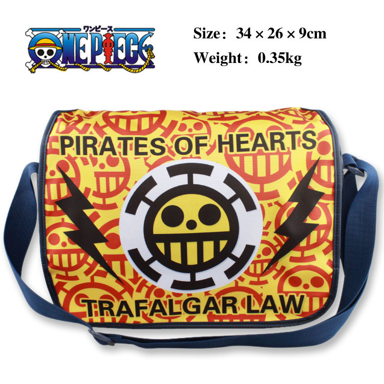 Anime ONE PIECE polyester shoulder bag/colorful printed with Trafalgar Laws Skull Sign