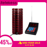 RETEKESS Pager Restaurant Calling System Wireless Guest Paging Queuing System Beeper 1 Keypad Transmitter+10 Coaster Pagers